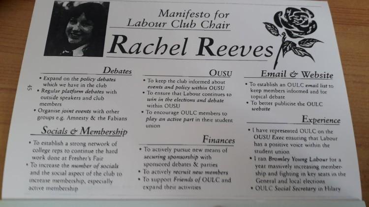 Rachel Reeves Chair Manifesto